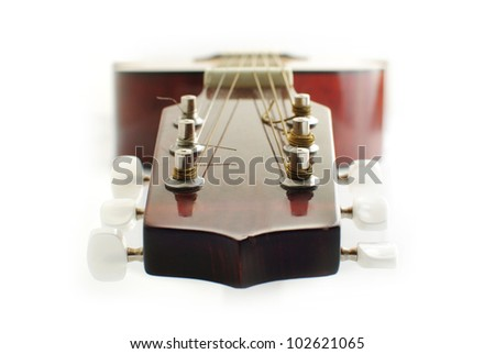 guitar head isolated on white - stock photo