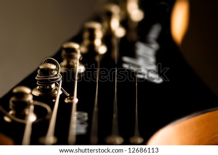 guitar head mechanics string - stock photo