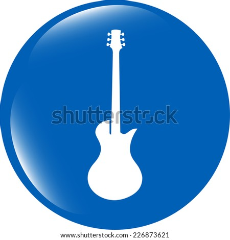 Guitar icon button isolated on white background