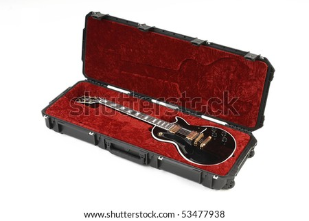 Guitar in case - stock photo