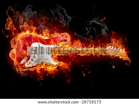 Guitar in fire - Series of fiery illustrations - stock photo