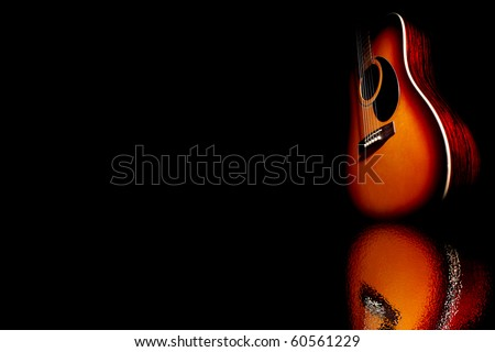 guitar in reflection - stock photo