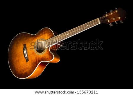 guitar isolation on black - stock photo