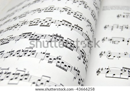 Guitar music sheets. Good file for musical backgrounds - stock photo