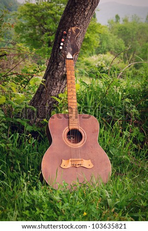 guitar music standing outdoors in nature, about the tree - stock photo