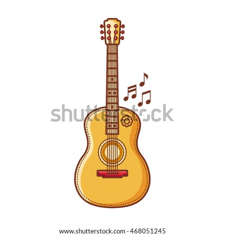 Guitar. Musical instrument for kid. Baby toy. Cartoon style. Raster