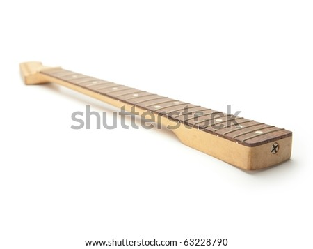 Guitar neck isolated on white. - stock photo