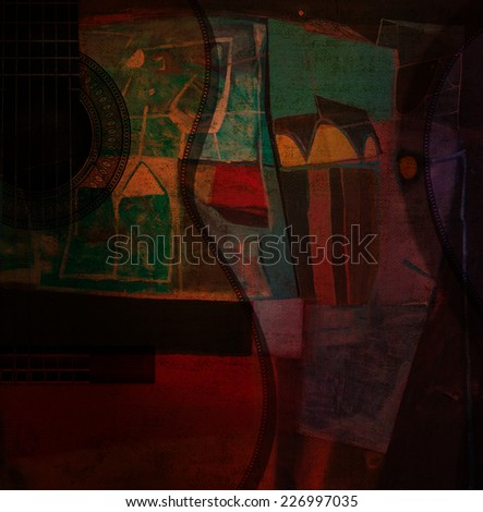 Guitar on abstract painting - stock photo