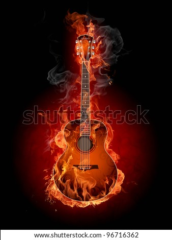 Guitar on fire - stock photo
