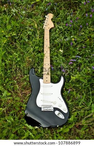 guitar on green grass yard - stock photo