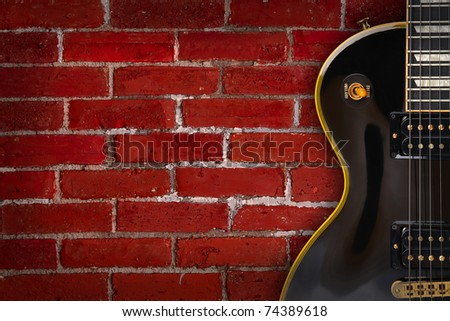 Guitar on grunge background - music - stock photo