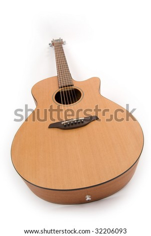 Guitar on white. Wide angle. - stock photo