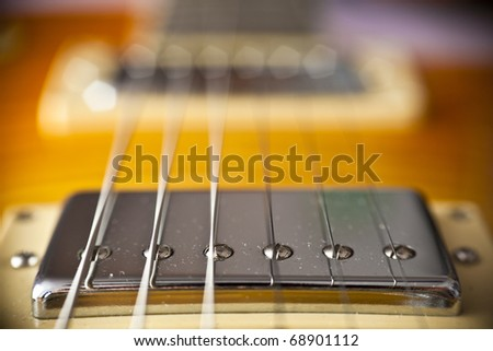 guitar pickup extreme close up - stock photo