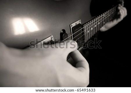 guitar play - stock photo