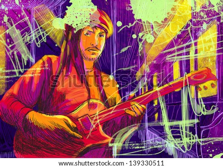Guitar player  - A hand drawn illustration of an musician playing guitar in the subway car - Full sized hand drawing (original). - stock photo