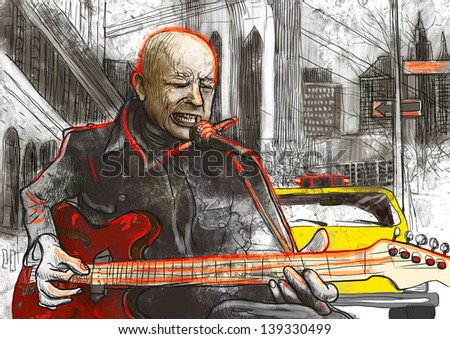 Guitar player  - A hand drawn illustration of an musician playing guitar on the street - Full sized hand drawing (original). - stock photo