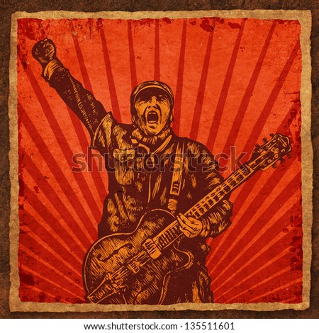 guitar player in retro style. raster version. vector available in my portfolio - stock photo