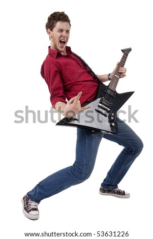 Guitar player isolated against white back ground - stock photo
