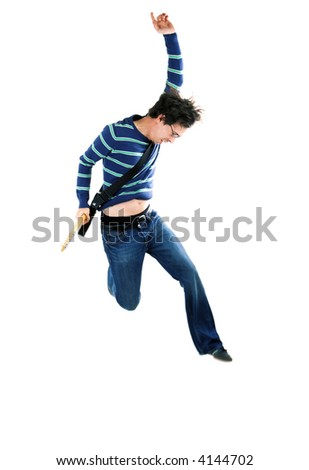 Guitar player jumping in ecstasy