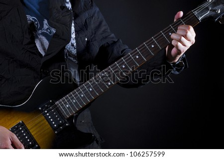 guitar power chords D - stock photo
