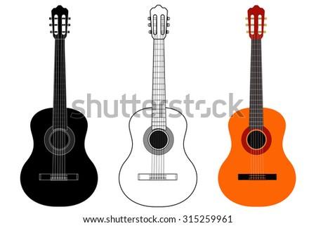 Guitar. Raster version. Illustration isolated on white background. - stock photo