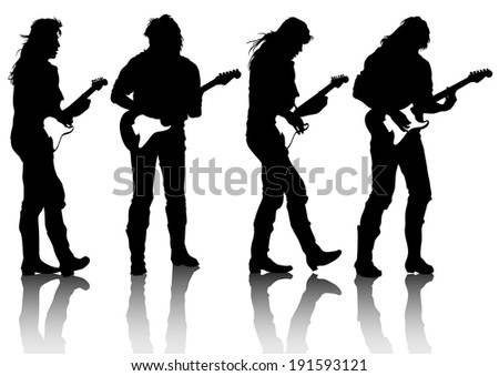 Guitar rock band on a white background - stock photo