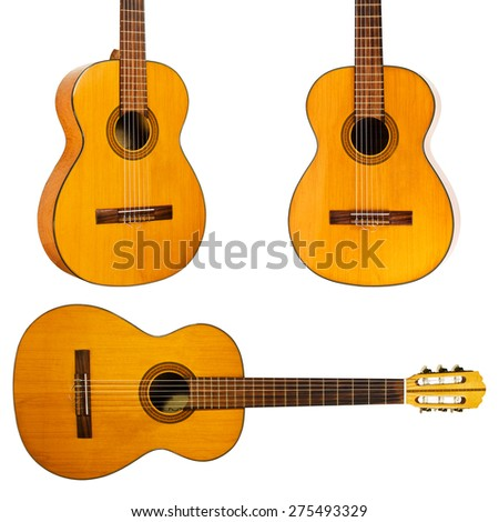 Guitar set.  isolated over white - stock photo