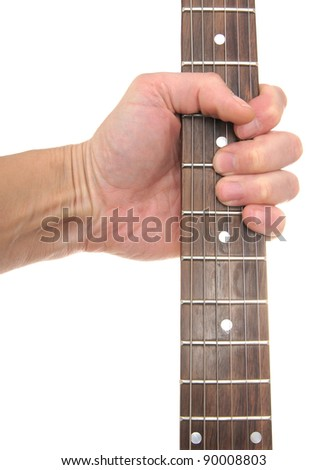 Guitar signature stamp in a hand, isolated on the white - stock photo