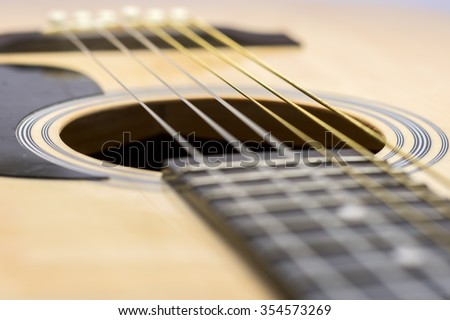 Guitar Strings, close up. Acoustic guitar.
