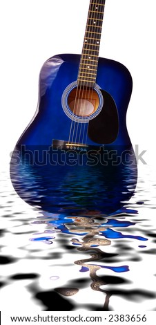 Guitar submerged in water with reflection - stock photo
