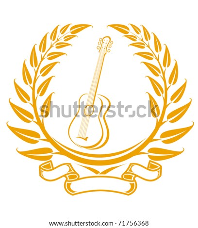 Guitar symbol in laurel wreath isolated on white. Vector version also available in gallery - stock photo