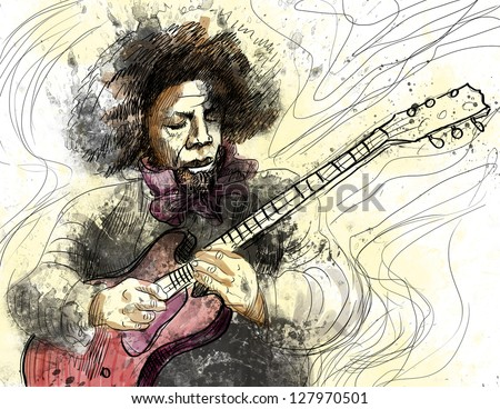 Guitar Virtuoso. /// A hand drawn illustration of an excellent guitar player. /// Color version on white. - stock photo