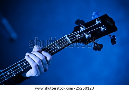 guitar vulture in the hands of musician with fingers