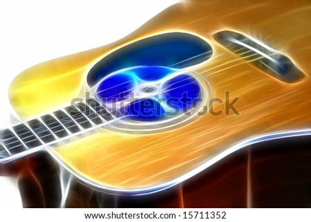 guitar with audio disc on white background
