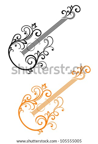 Guitar with floral elements in retro style for musical design. Vector version also available in gallery - stock photo