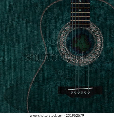 Guitar with flowers on it, illustration - stock photo