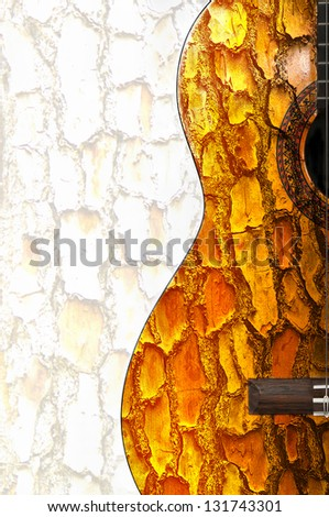 Guitar with old wood bark texture - stock photo