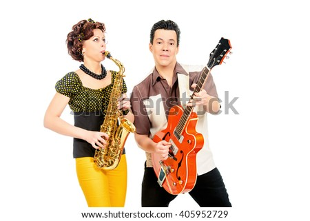 Guitarist and saxophonist duo in the style of the 60s. Rock'n'roll, jazz. Beat generation. Isolated over white.  - stock photo