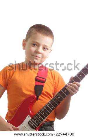 Guitarist in orange isolated over white background