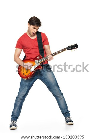 Guitarist  man plays on the electric guitar with bright emotions, isolated on white background