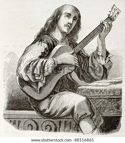 Guitarist old illustration. Created by Montigneul after Daret, published on Magasin Pittoresque, Paris, 1844 - stock photo