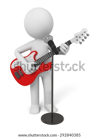 Guitarist on stage using a microphone. 3d image. Isolated white background.