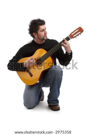 Guitarist over isolated white background