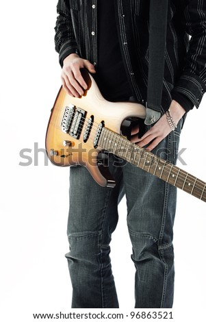 guitarist rock star isolated on white background - stock photo