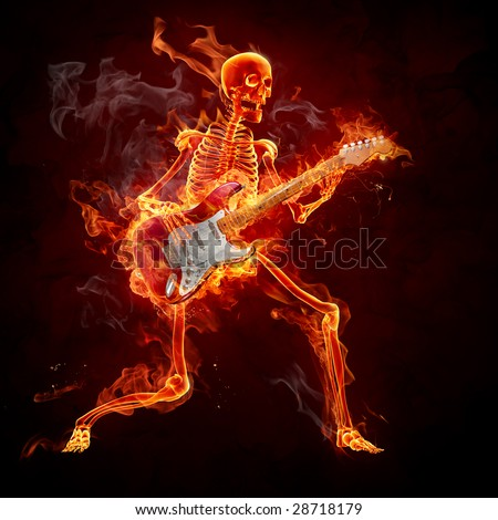 Guitarist - Series of fiery illustrations - stock photo