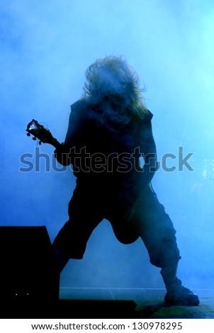 Guitarist silhouette - stock photo