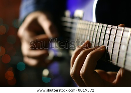 guitarist solo - stock photo