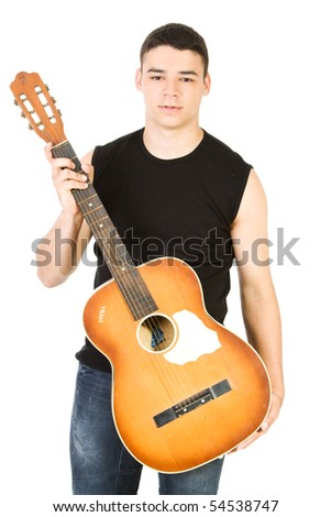Guitarist with his guitar isolate on white - stock photo
