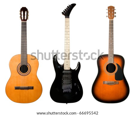 Guitars set isolated on white background. - stock photo