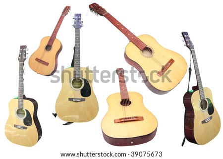 guitars under the white background